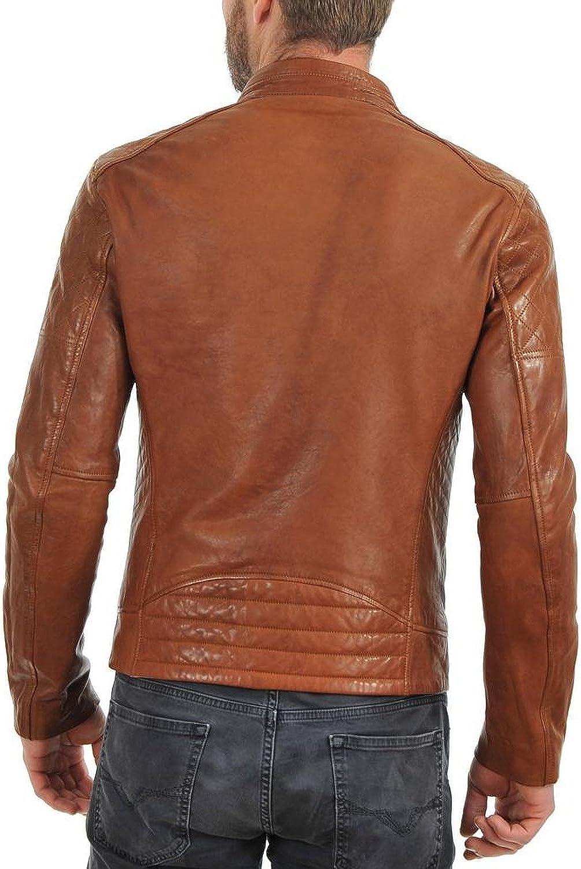 Kingdom Leather New Mens Leather Jacket Slim Fit Biker Motorcycle Genuine Leather Coat X464