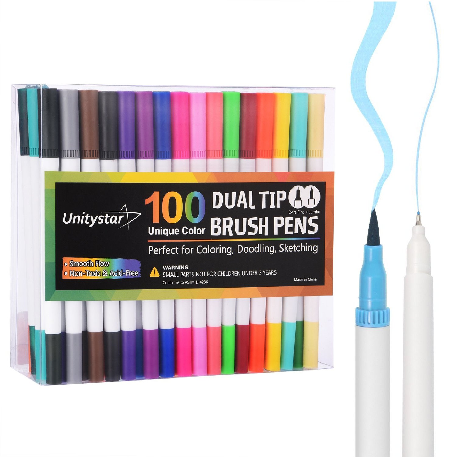 UnityStar Dual Tip Markers 100 Colors, Watercolor Dual Brush Pens Art Marker with 0.4 Fineliner Tip and Highlighters Brush Tip(1-2mm) for Adult Coloring Calligraphy Journaling Sketching and Art