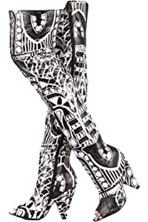 ae7401dd938 Weboo Hollywood-01 Over Knee Thigh High Open Toe Cone Heel Graphic Print  Boots Black