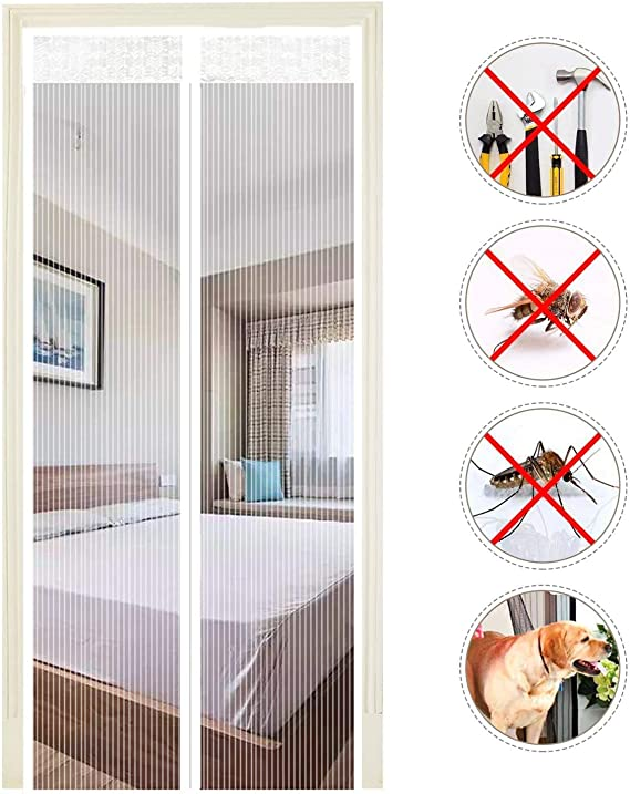 EXTSUD Mosquitera Puertas Cortina Mosquitera Magnética para Puertas Protección contra Insectos para Puerta de Balcón Sala de Estar Puerta de Patio, Blanco (140x240cm): Amazon.es: Jardín
