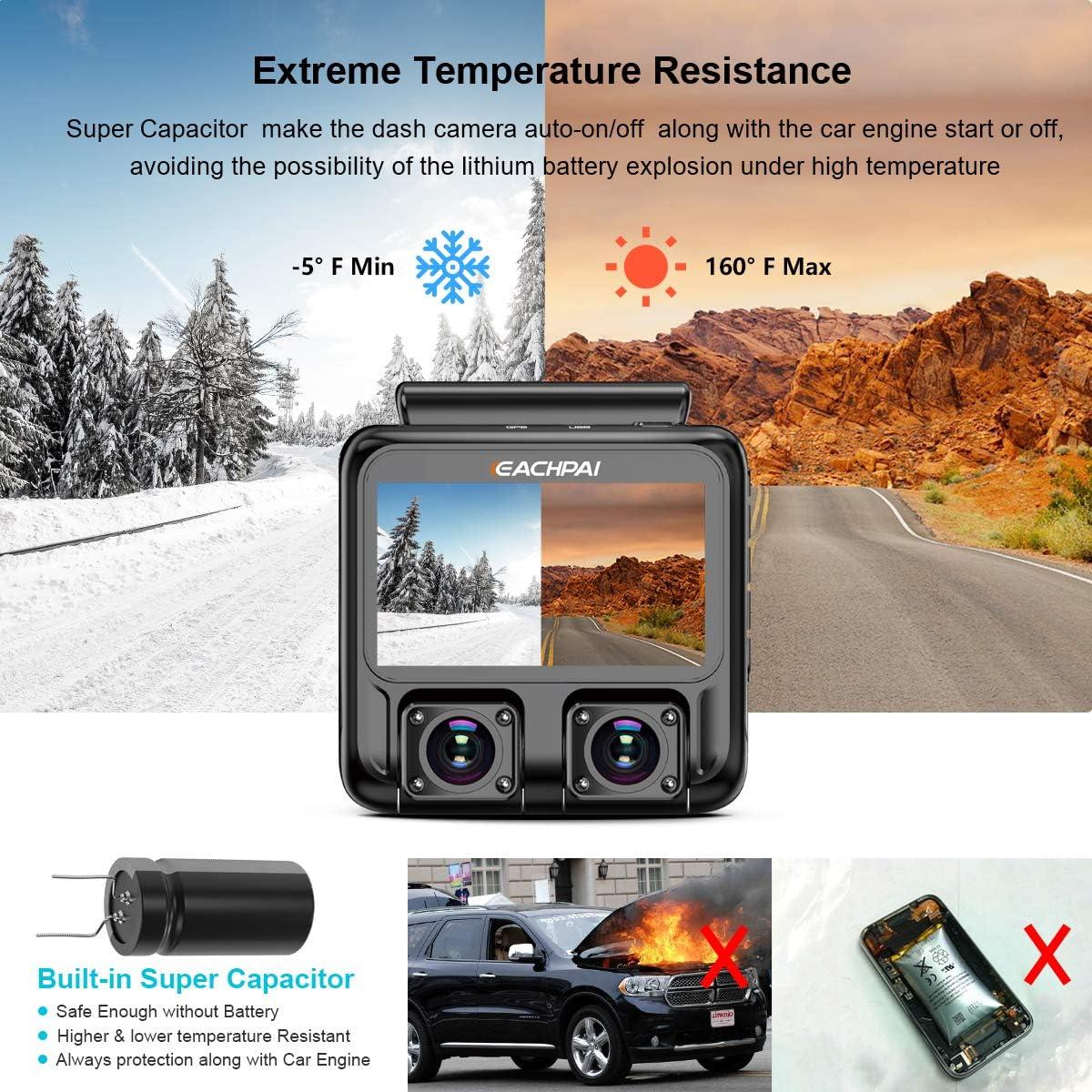Car Dash Camera 4K EACHPAI X100 Plus Dash Cam Dual Single 4K Front//Dual 1080P,3 Car Camera for Cars with WI-FI GPS,IR Night Vision,Parking Mode,G-Sensor,Motion Detector,Loop Recording,WDR