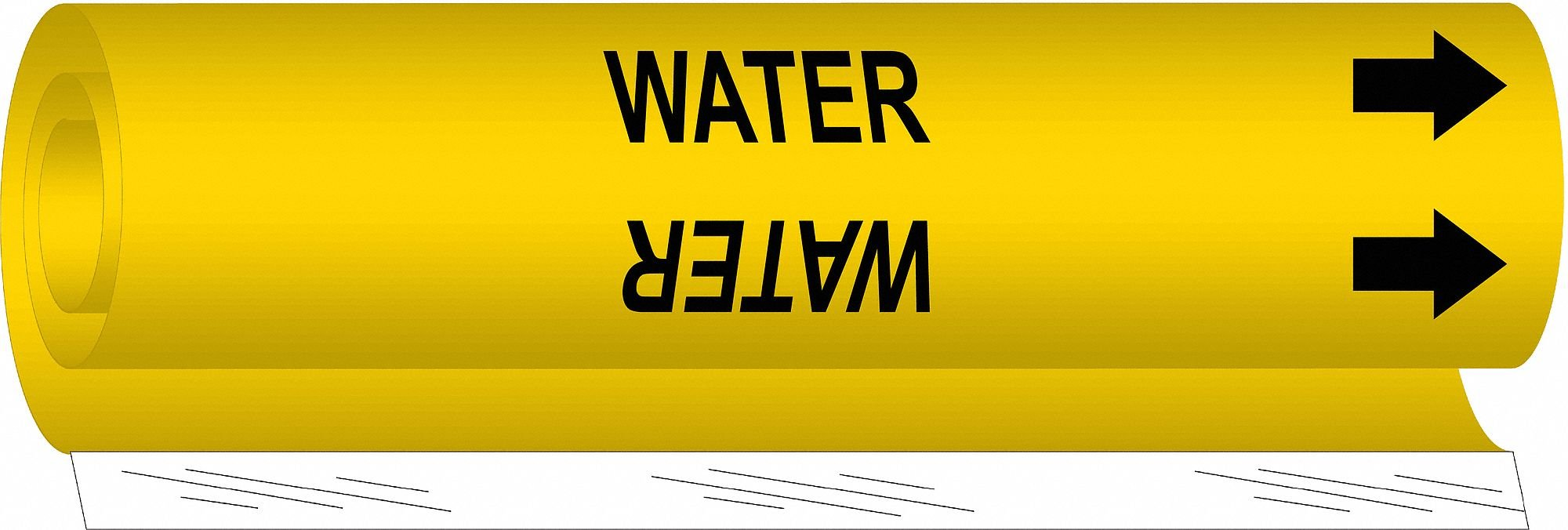 Pipe Marker,Water,Yel,1-1/2 to 2-3/8 In