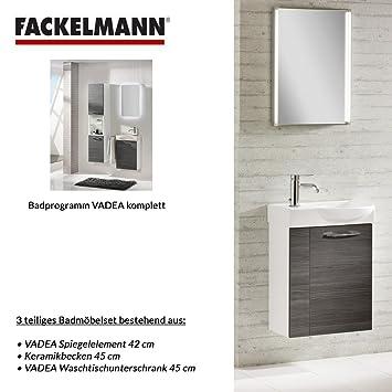 Fackelmann Badmöbel Set Vadea Gäste WC 3-tlg. 45 cm Anthrazit Weiß ...