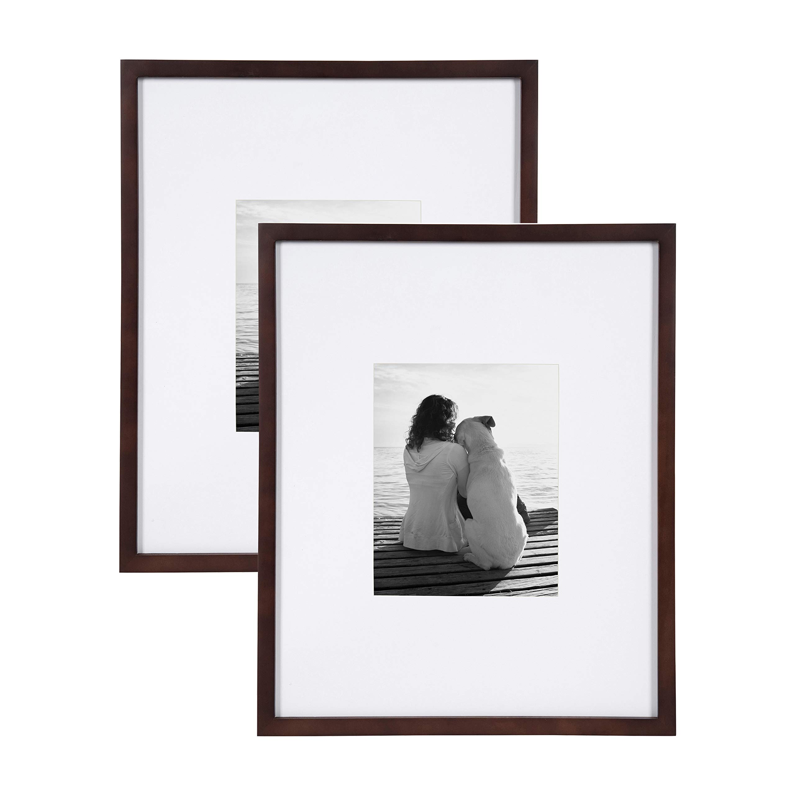 DesignOvation Gallery Wood Photo Frame Set for Customizable Wall Display, Pack of 2 16x20 matted to 8x10 Walnut Brown by DesignOvation