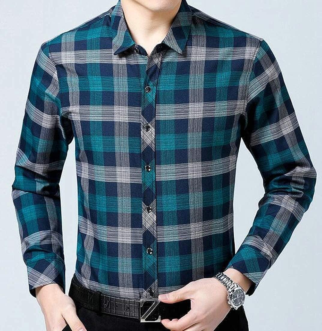 Wofupowga Men Casual Plaid Business Slim Fit Long-Sleeve Shirts