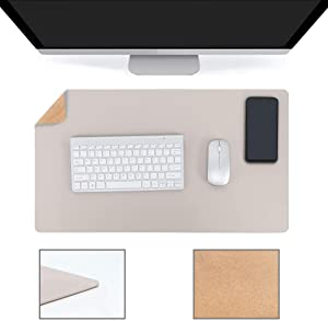 """YSAGi Multifunctional Office Desk Pad, Ultra Thin Waterproof PU Leather Mouse Pad, Dual Use Desk Writing Mat for Office/Home (23.6"""" x 13.7"""", Cork+Grey)"""