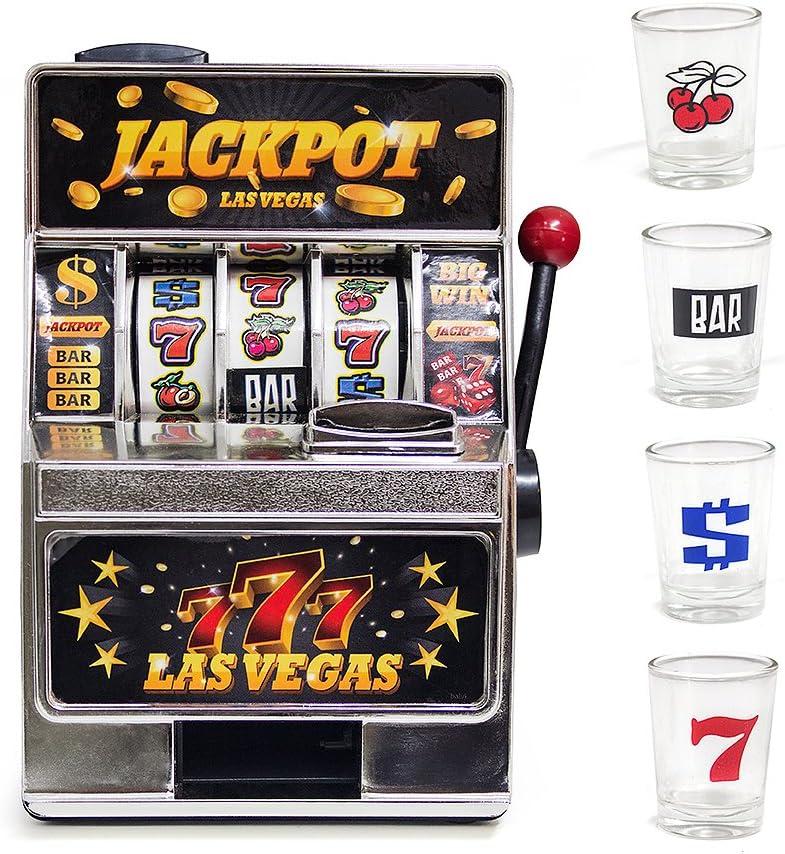 Balvi Juego de Mesa Las Vegas máquina tragaperras y 4 chupitos Plástico/Cristal 17,5cm: Amazon.es: Juguetes y juegos