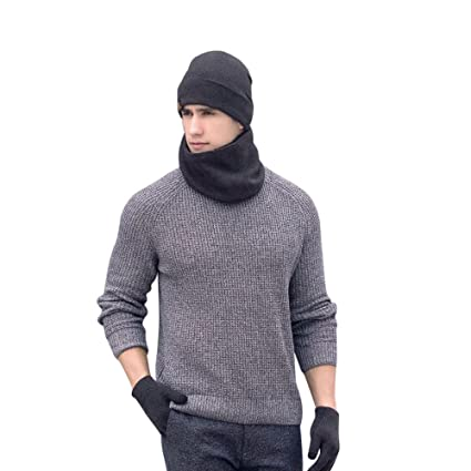 d9e61256799 Image Unavailable. Image not available for. Color  LIULIULIU Man Ladies 3pc Winter  Warm Solid Soft Knit Beanie Hat Scarf ...