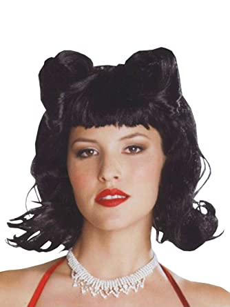 Amazon Com 50s Style Flipper Short Black Wig With Side Pin Curls