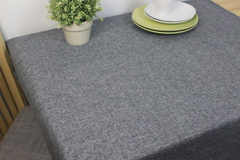 Cotton and Linen, Machine Washable, Everyday Chambray Kitchen Tablecloth For Dinner Parties, Summer & Outdoor Picnics(Gray,55x70.7In) by LINENLUX (Image #3)