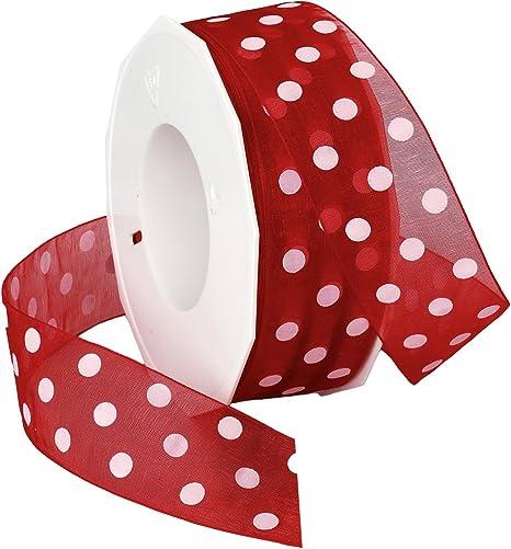 2-Inch by 50-Yard Spool Black Morex Ribbon Wired Sheer Dots Fabric Ribbon