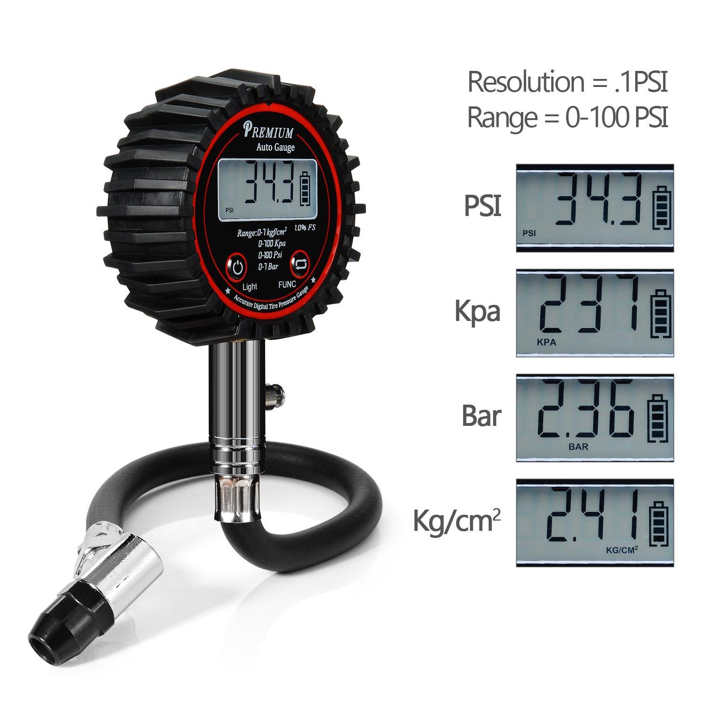 Amazon.com: Digital Tire Pressure Gauges, Professional 100 PSI ...