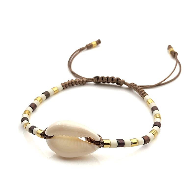 MDL13022 Starfish Bracelet Summer Turtle Cowrie Set  Seed Beads Gold Details Elastic Adjustable Cord Macrame Closure Mar De Luna Designs