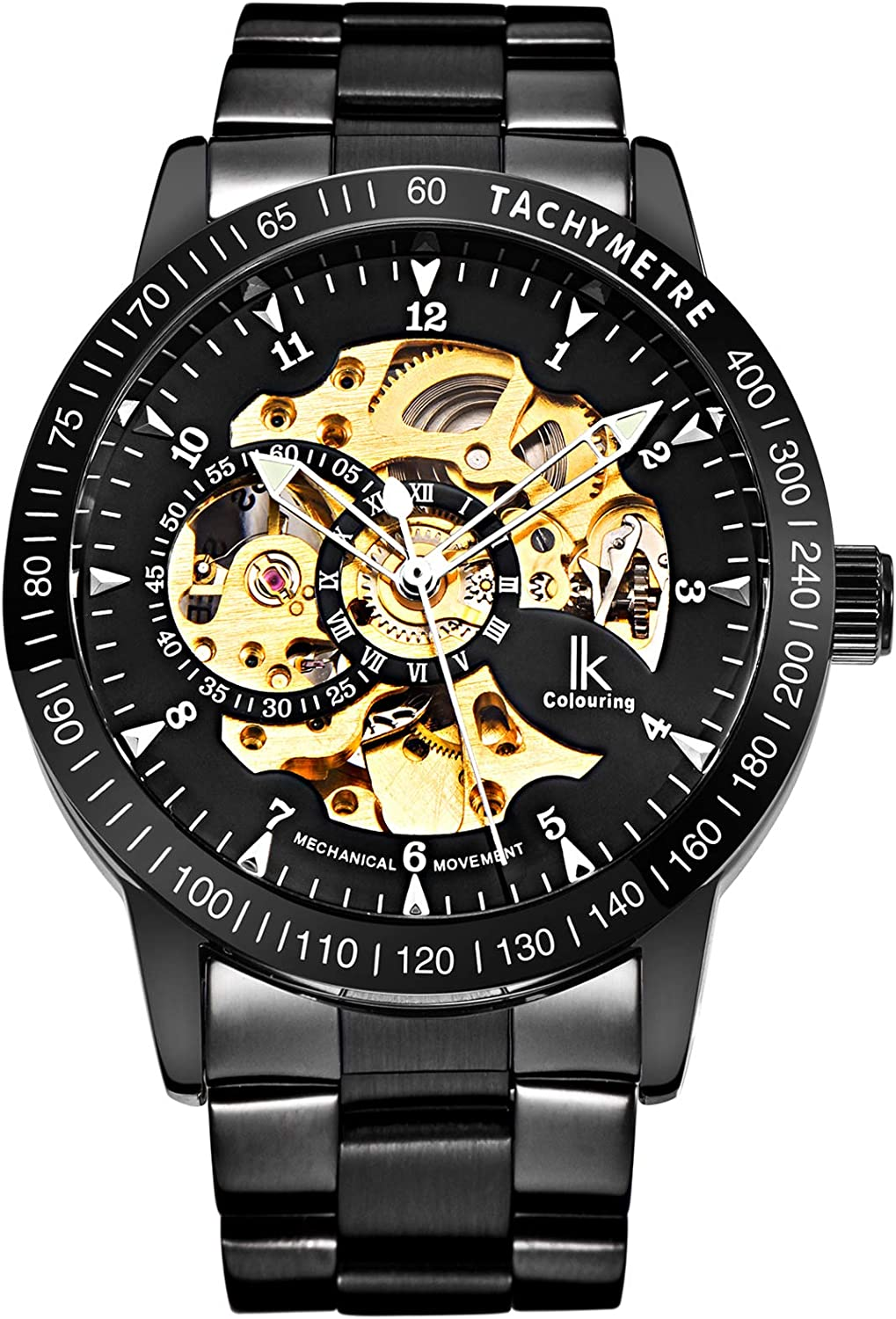 Gute Casual Mens Black Steel Skeleton Automatic Mechanical Coated Glass Wristwatch