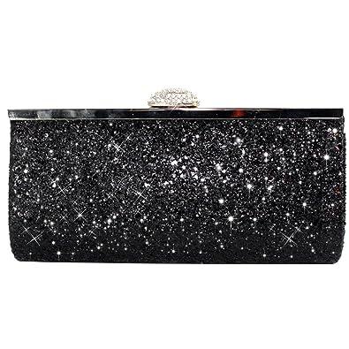 3e72ac32b2 Wocharm Womens Prom Party Glitter Clutch Bag Sparkly Silver Gold Black  Evening Bridal Bag (Black