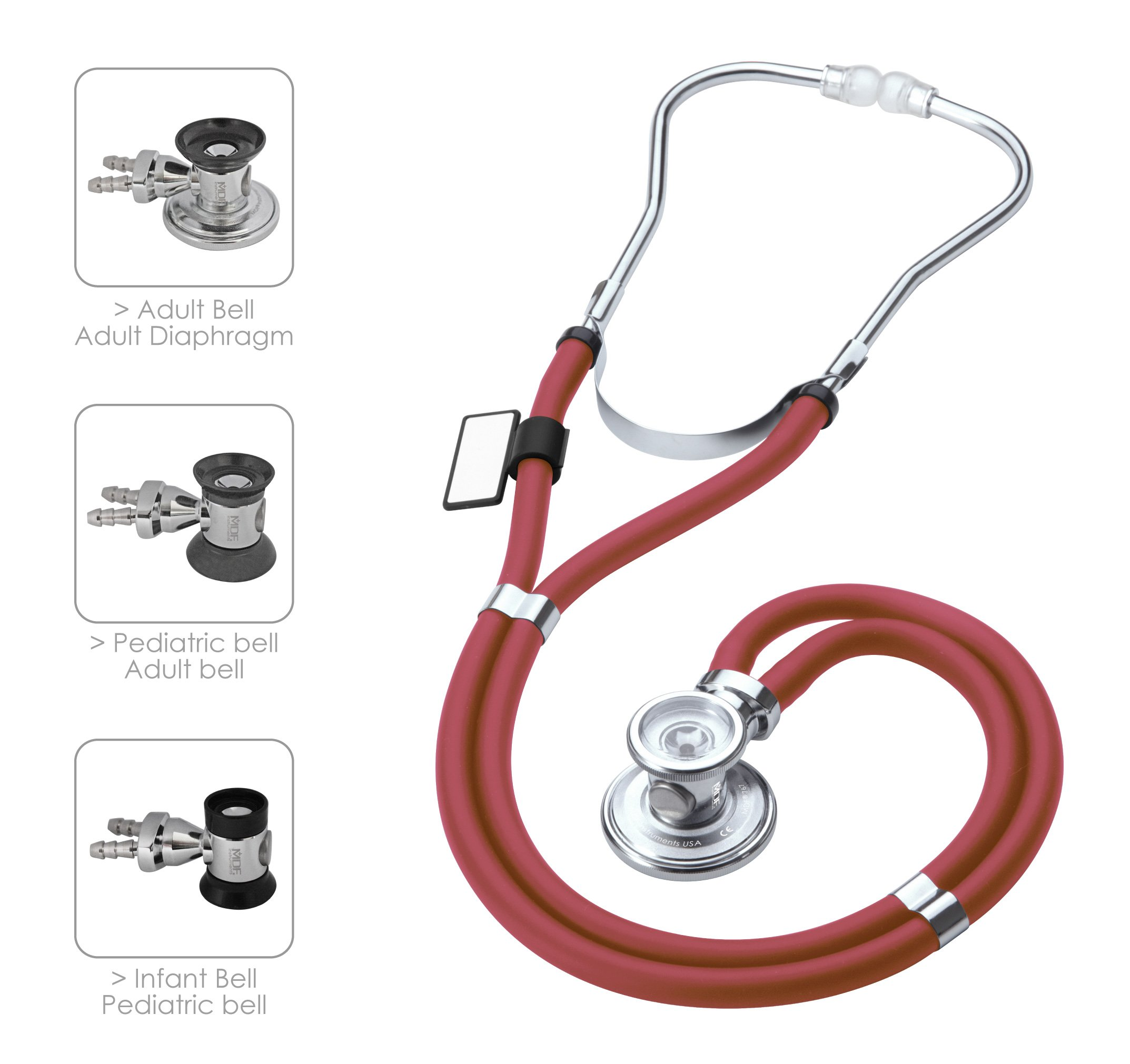 MDF Sprague Rappaport Dual Head Stethoscope with Adult, Pediatric, and Infant convertible chestpiece - Free-Parts-for-Life & (MDF767) (Burgundy (Napa))