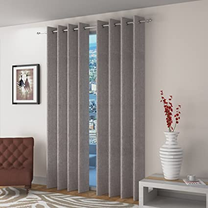 Skyloom Jute Fabric Grey Color Curtain 5x4ft (Pack of 2)