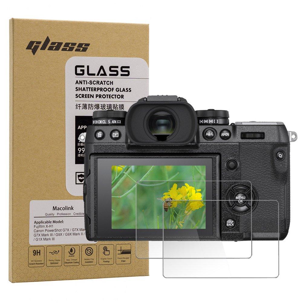 Macolink Tempered Glass Screen Protector for Fujifilm X-H1 / Canon PowerShot G7X / G7X Mark II III / G9X / G9X Mark II / G5X / G1X Mark III (2 Pack)