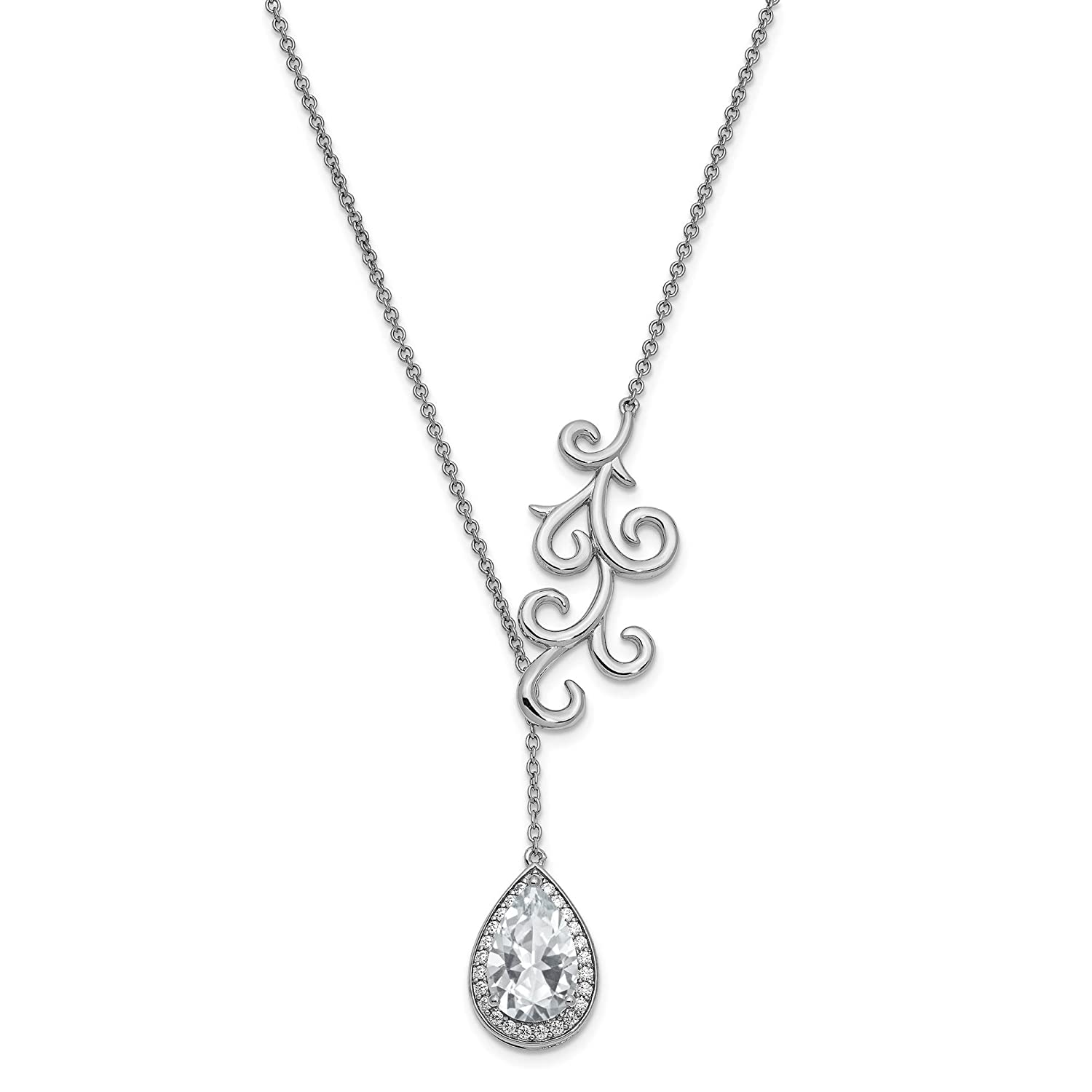 3//4 Ext by Sentimental Expressions Sterling Silver CZ To My Bride Teardrop Pendant Necklace 17.5