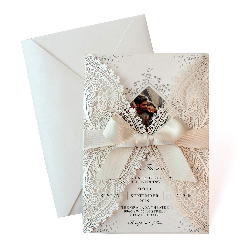 25 Set Laser Cut Wedding Invitations With Ribbon Bow