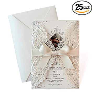 25 Set Laser Cut Wedding Invitations With Ribbon Bow Photo Invitation Card Template Elegant Bridal Shower Invites Save The Date Include Laser Cut