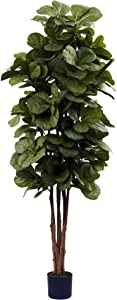 Nearly Natural 6ft Fiddle Leaf Fig Tree, Green