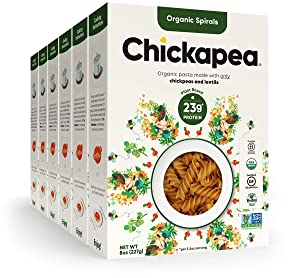 Vegan Gluten Free Pasta by Chickapea, Organic Spirals, Chickpea and Lentil Pasta, Plant Based, Non GMO, Lower Carb, High Protein, 8 oz (Pack of 6)…