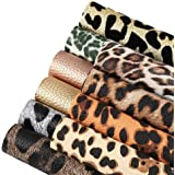 Caydo 10 Pieces Leopard Printed Faux Leather Sheets, Leopard Pattern Leather Fabric for Making Hair Bows and Earrings, 6…
