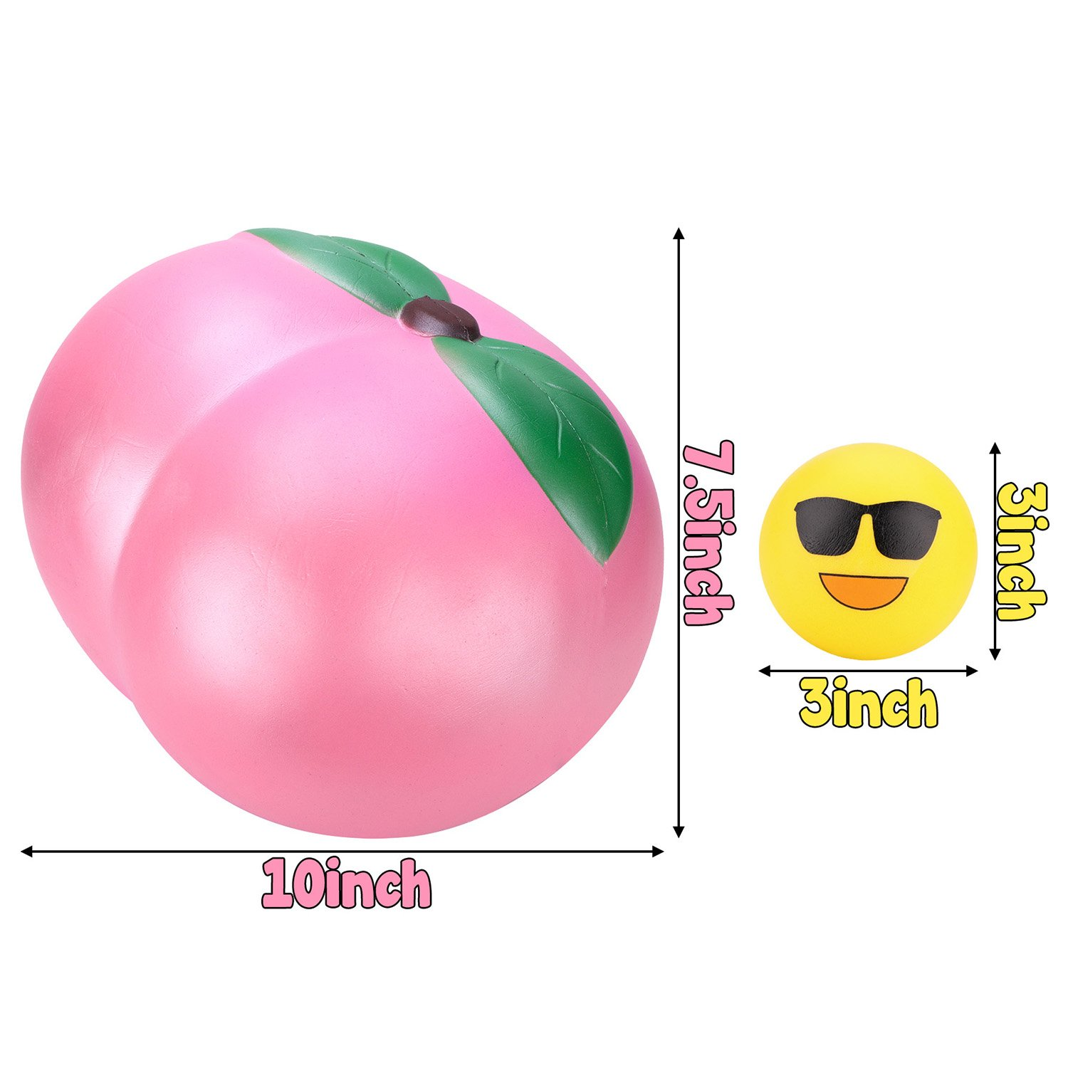 WATINC 10inch Jumbo Squishies, Large Peach Squishies, Birthday Gift for Kids, Giant Slow Rising Simulation Cute Fruit Squeeze Toy for Collection, Decorative Props, Stress Relief, Bonus Emoji squishies by WATINC (Image #2)