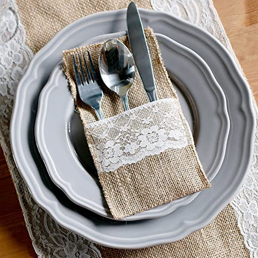 Christmas Tablescape Decor - Natural Burlap White Lace Silverware Napkin Holders Set of 10