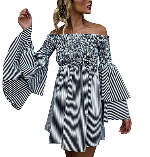 def53bc470cd Hestenve Women s Striped Off Shoulder Ruched Bell Sleeve Dress Loose Fit T  Shirt Dress
