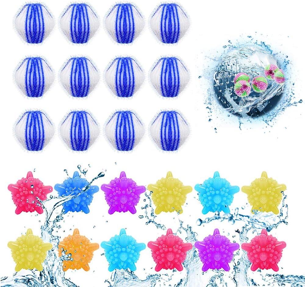 Azul y blanco 24PCS Pelota de Lavado,Bolas de Lavado,Ropa Bolas,pelota de lavander/ía,Colector de Cabello Lavander/ía Mascotas,Reutilizable eliminaci/ón de Limpieza de Silicona