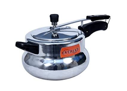 Everest Inner lid DUAL BASE(Induction & GAS COMPATIBLE) Mirror Polish Pressure Cooker,Model: Handi (7.5 Liters)