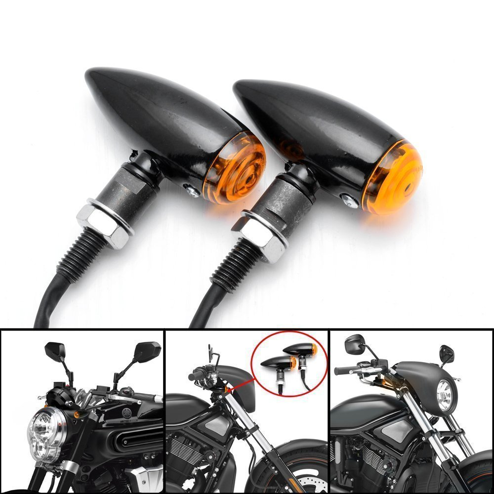 DLLL 2x Universal Aluminum Bullet Smoke Lens Amber LED Turn Signal Blinker Indicator Light For Honda Fury Goldwing Kawasaki Yamaha Suzuki Harley Custom Bike Cruiser Bobber Chopper Candance®