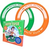 Super Cool Green & Orange Kids Frisbee Rings [2 PACK] Best Birthday Gifts & Presents - Fun Summer Toys for Boys & Girls - Play Ultimate Outdoor Games at Beach Pool School Park - Made in USA!