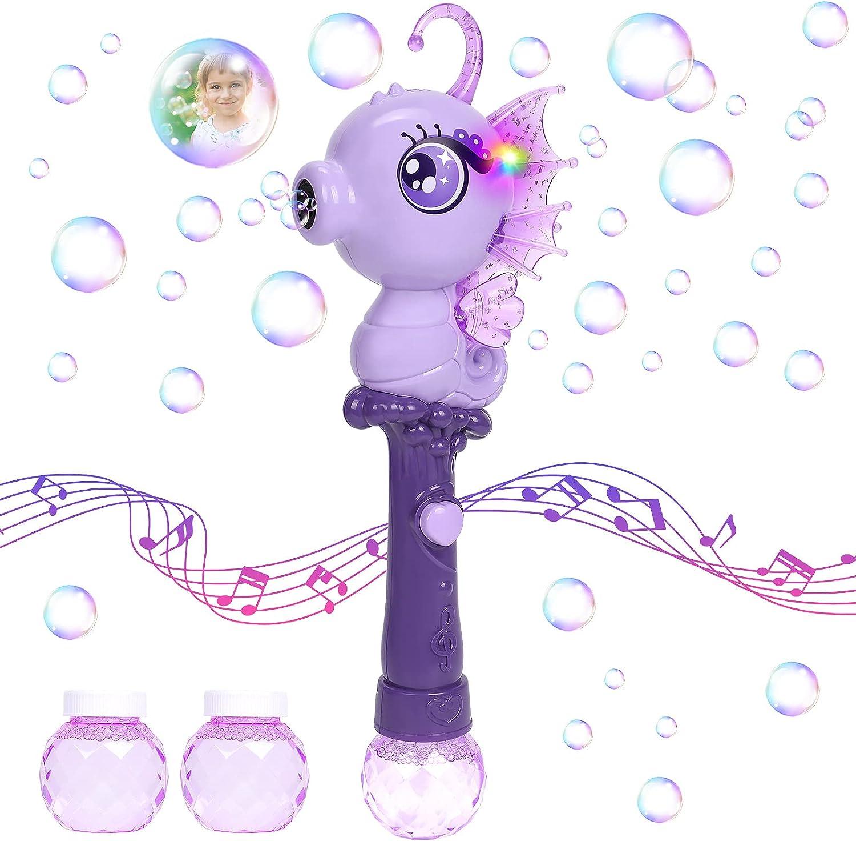 Máquina de Burbujas Automático Caballo de Mar Burbujas de Jabon Varita de burbujas Aparatos Pistola de burbujas Juego de pompas de jabón con Musica Luz Juguete Verano para Fiestas al Aire Libre Niños