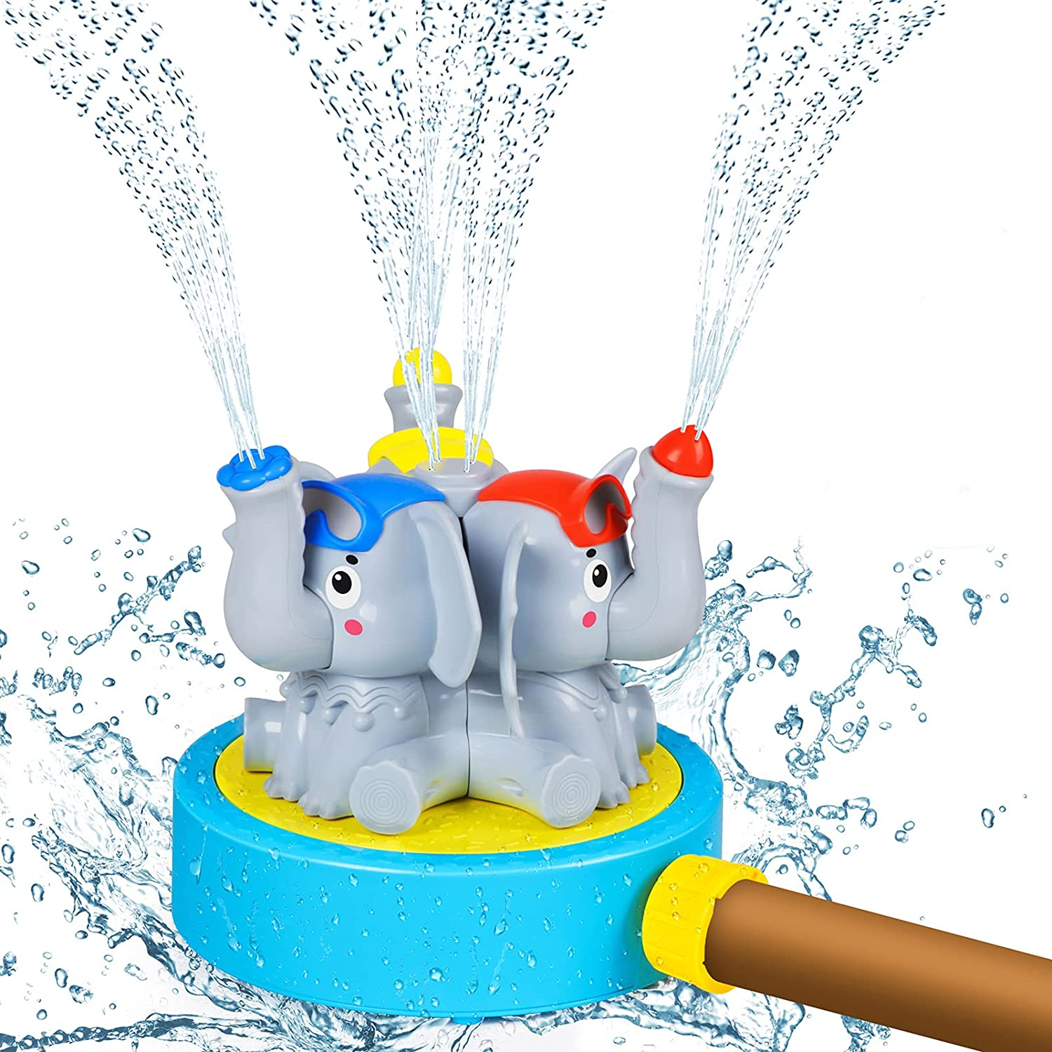 DX DA XIN Outdoor Water Play Sprinklers, Garden Water Spray Toys for Kids Toddlers Summer Backyard Elephant Sprinkler Toy Fix to Garden Hose Water Park for Gift Boys Girls Pets Plays Squirt Fun(Grey)