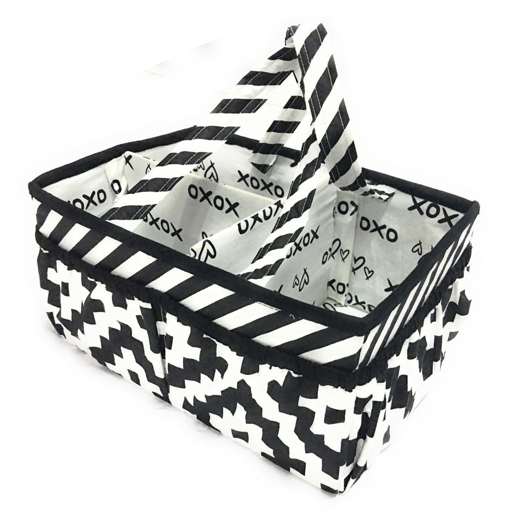 Bacati Love Nursery Fabric Storage Caddy with handles, Black