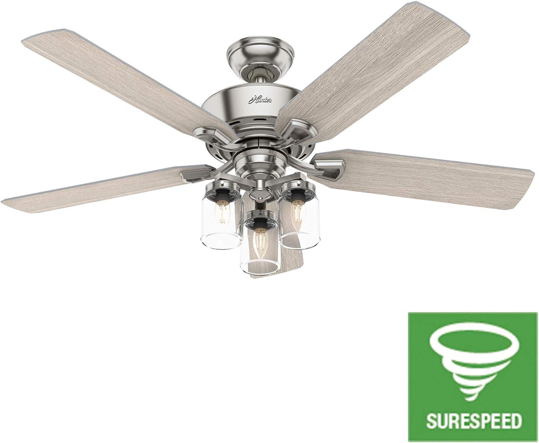 Hunter Fan Company 50604 Devon Park Ceiling Fan, 52, Brushed Nickel