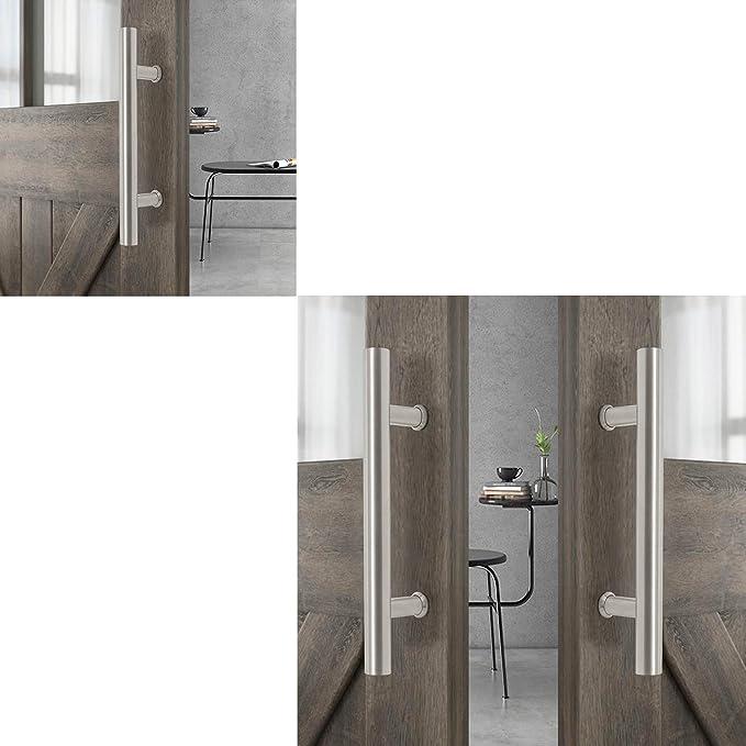 Tirador para puerta de granero de acero inoxidable 304 resistente con asas de color negro y orificios grandes de 185 mm para puerta de madera: Amazon.es: Bricolaje y herramientas
