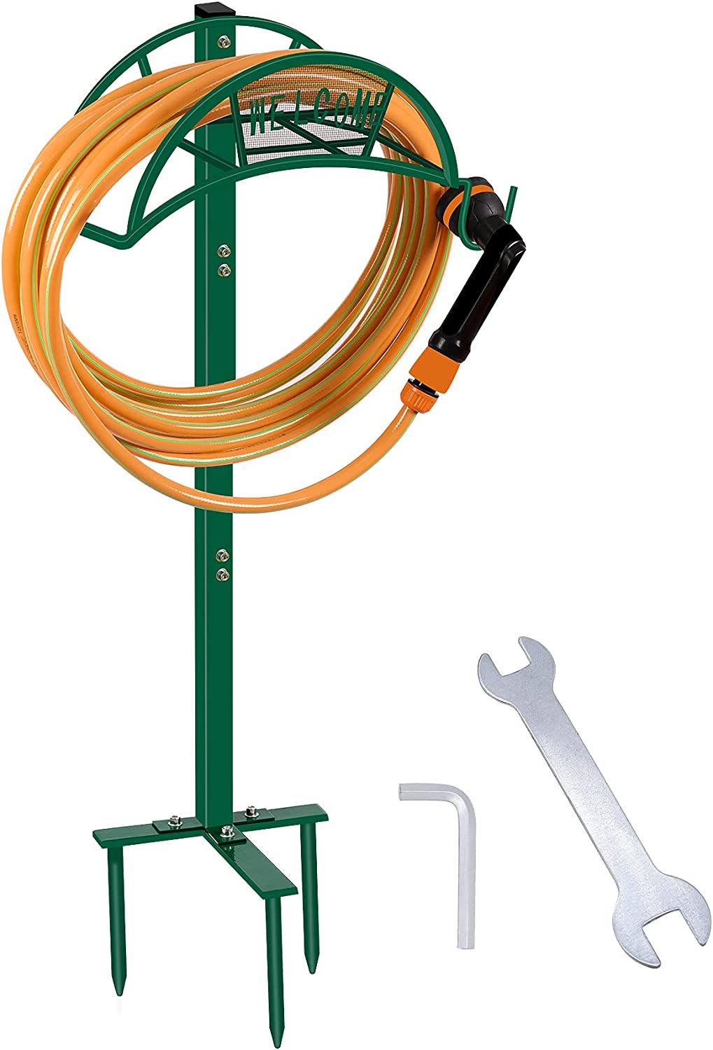 West Bay Garden Hose Holder Hanger, Hose Reel Holder Free Standing Metal Water Heavy Iron Holders Storage Stand Rack Yard Lawn Unique 2021 New Version Green (Hose Not Included)