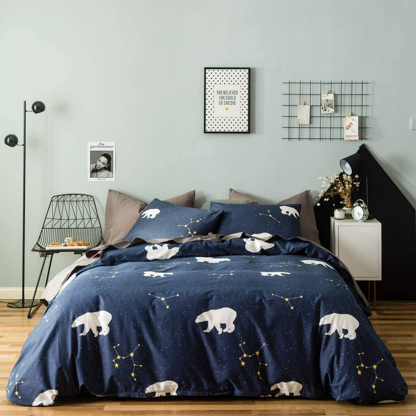 SUSYBAO 3 Pieces Duvet Cover Set 100% Natural Cotton King Size Navy and White Polar Bear Constellation Bedding with Zipper Ties 1 Duvet Cover 2 Pillowcases Luxury Quality Soft Durable Breathable