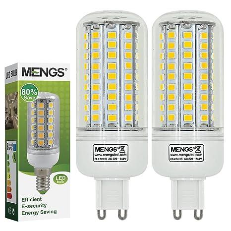 MENGS® Pack de 2 Bombilla lámpara LED 12 Watt G9, 102x 2835 SMD,
