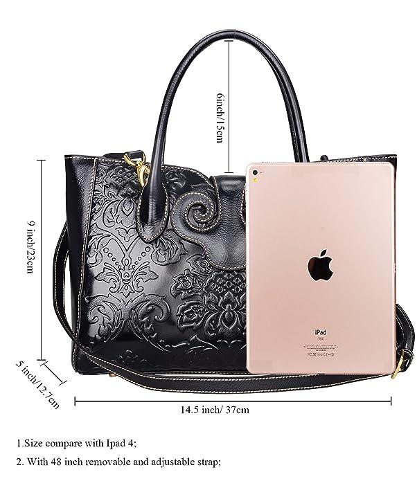 6dd2bc64d2d5 PIJUSHI Floral Handbags For Women Designer Handbag Top Handle Shoulder Bags  For Ladies (91776 Black)  Handbags  Amazon.com