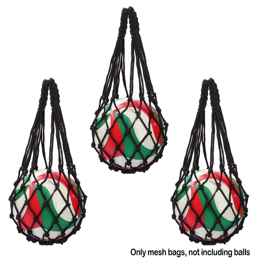 3Pcs Mesh Ball Net Voleibol Basketball Football Carry Net Bag, Bolso multifuncional de bolsa de red Baloncesto Fútbol Voleibol de fútbol - Ligero y cómodo (Negro) Hatisan-Pro