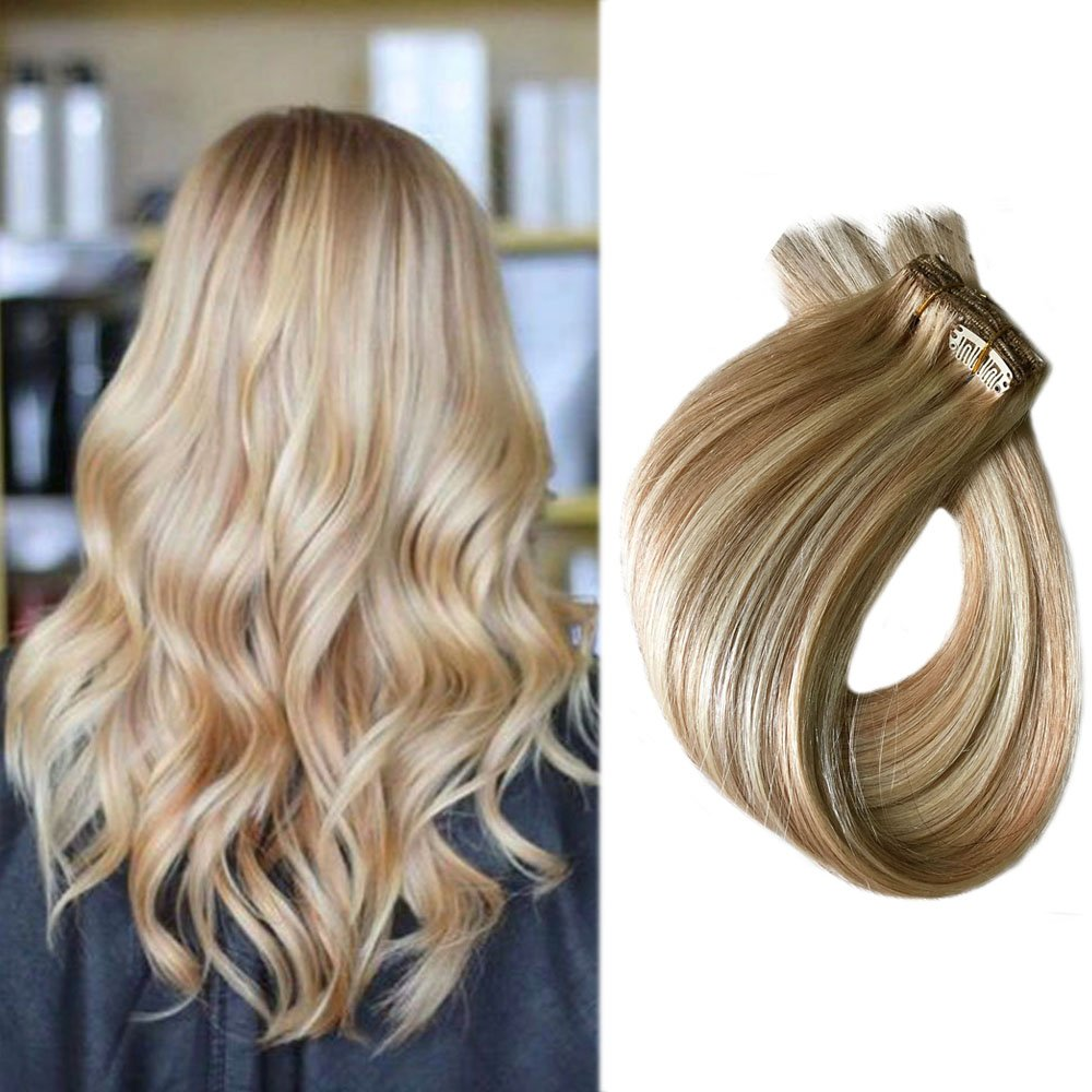 Best Clip On Extensions Real Human Hair 15 Inch Blonde Hair With