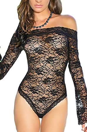 5acc14ea953789 Womens Black Sexy Sheer Off-shoulder Bell Sleeve One Piece Lingerie:  Amazon.co.uk: Clothing