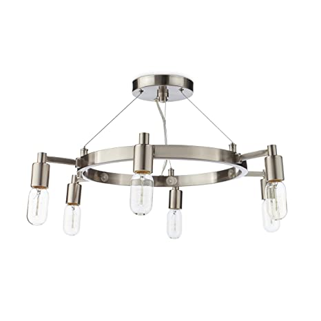 Brushed Nickel Chandelier Centerpiece With Edison Bulbs For