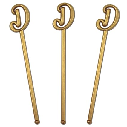 royer 6 wedding monogram letter d swizzle sticksstirrers script