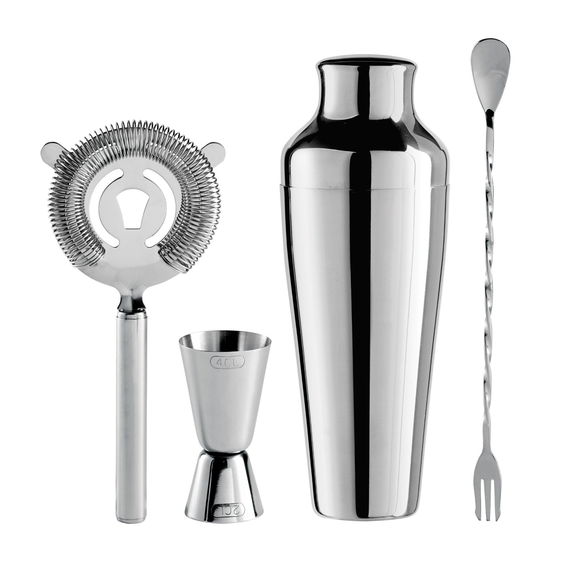 Oggi 4 Piece Bartender Accessories Set-Includes Stir-Stick, Cocktail Shaker, Double Jigger and Ice Strainer, Stainless